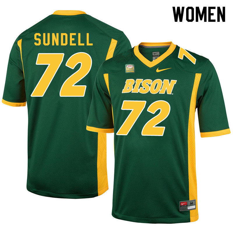 Women #72 Jalen Sundell North Dakota State Bison College Football Jerseys Sale-Green