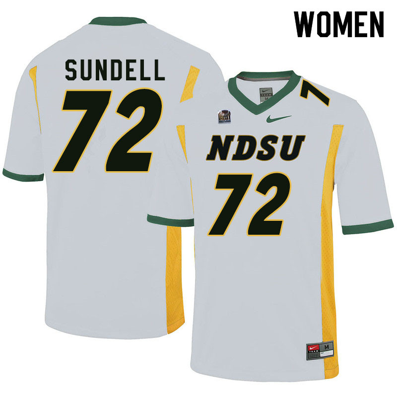 Women #72 Jalen Sundell North Dakota State Bison College Football Jerseys Sale-White