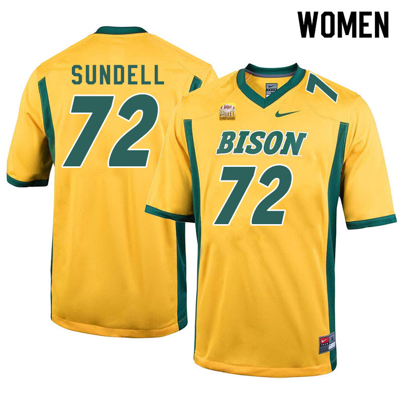 Women #72 Jalen Sundell North Dakota State Bison College Football Jerseys Sale-Yellow