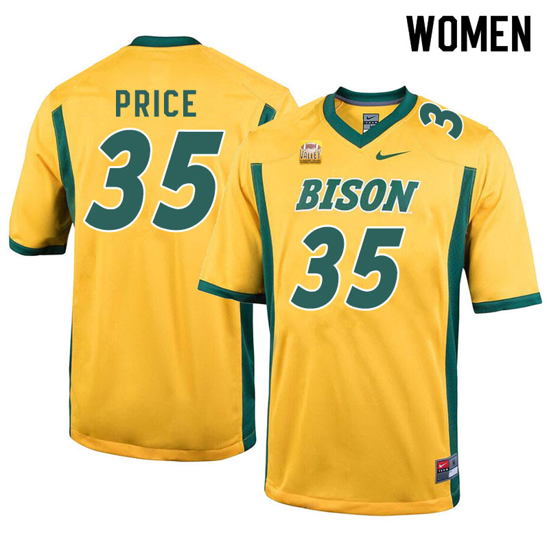 Women #35 Jayden Price North Dakota State Bison College Football Jerseys Sale-Yellow