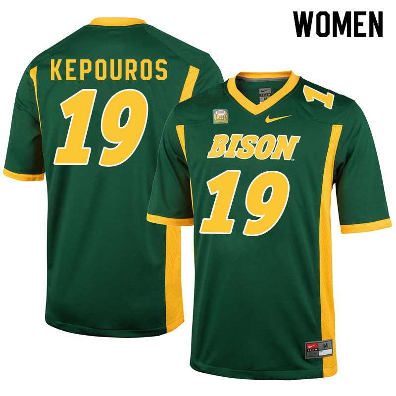 Women #19 Jimmy Kepouros North Dakota State Bison College Football Jerseys Sale-Green