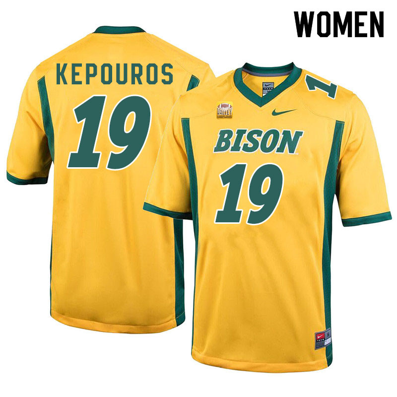 Women #19 Jimmy Kepouros North Dakota State Bison College Football Jerseys Sale-Yellow
