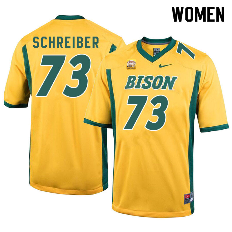 Women #73 Joe Schreiber North Dakota State Bison College Football Jerseys Sale-Yellow