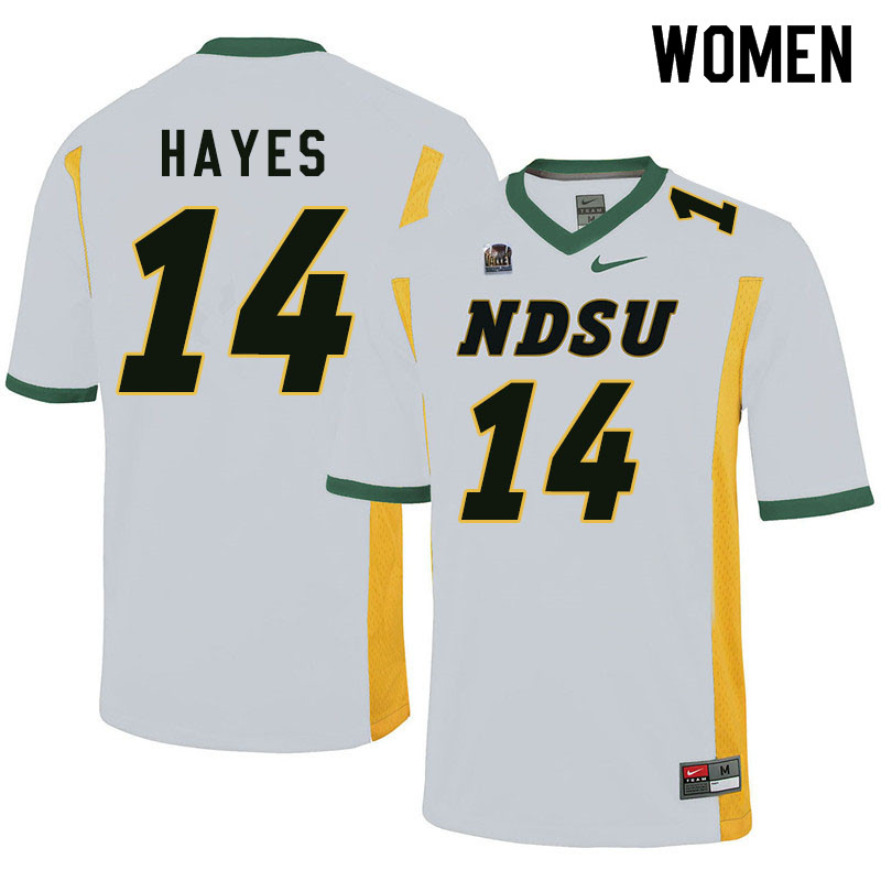 Women #14 Josh Hayes North Dakota State Bison College Football Jerseys Sale-White