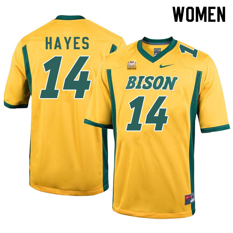 Women #14 Josh Hayes North Dakota State Bison College Football Jerseys Sale-Yellow