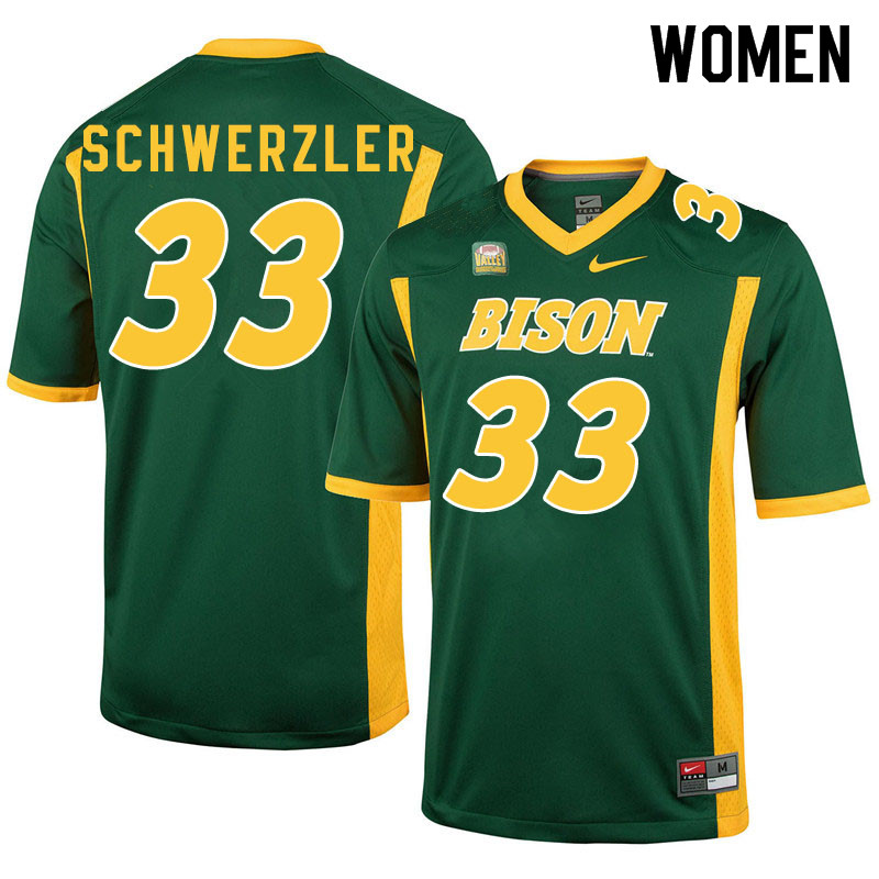 Women #33 Mason Schwerzler North Dakota State Bison College Football Jerseys Sale-Green