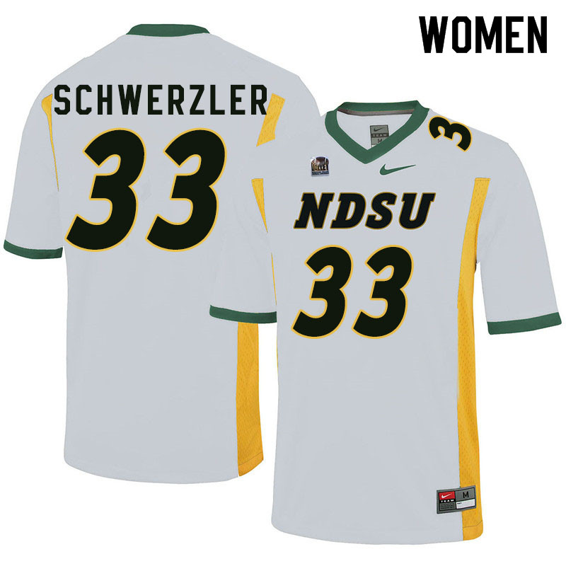 Women #33 Mason Schwerzler North Dakota State Bison College Football Jerseys Sale-White
