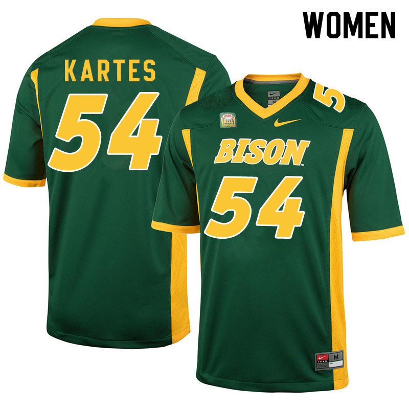 Women #54 Mitchell Kartes North Dakota State Bison College Football Jerseys Sale-Green
