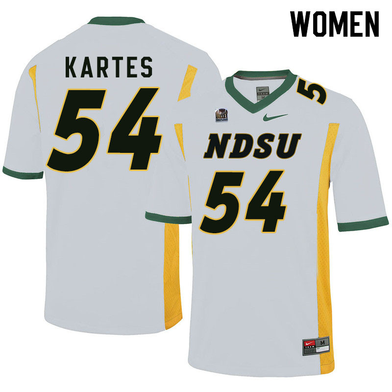 Women #54 Mitchell Kartes North Dakota State Bison College Football Jerseys Sale-White