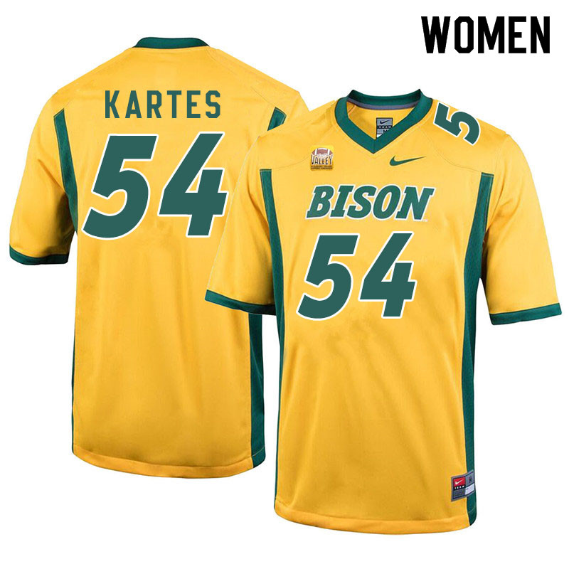 Women #54 Mitchell Kartes North Dakota State Bison College Football Jerseys Sale-Yellow