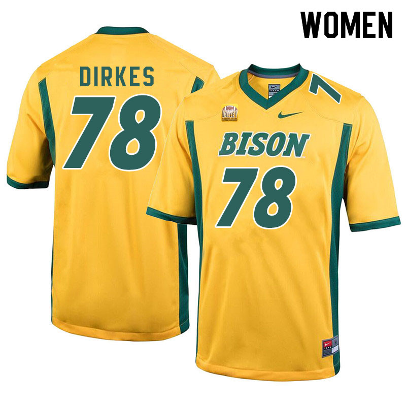 Women #78 Nate Dirkes North Dakota State Bison College Football Jerseys Sale-Yellow