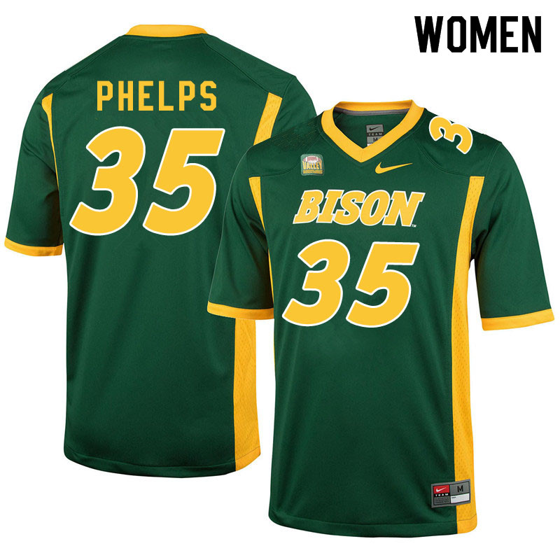 Women #35 Nick Phelps North Dakota State Bison College Football Jerseys Sale-Green