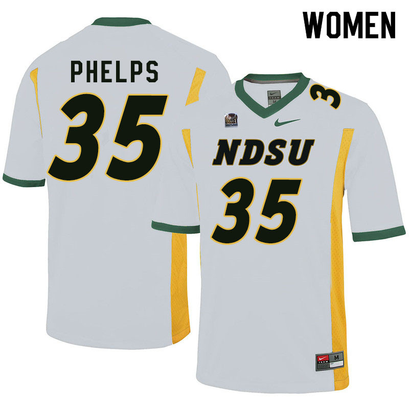 Women #35 Nick Phelps North Dakota State Bison College Football Jerseys Sale-White