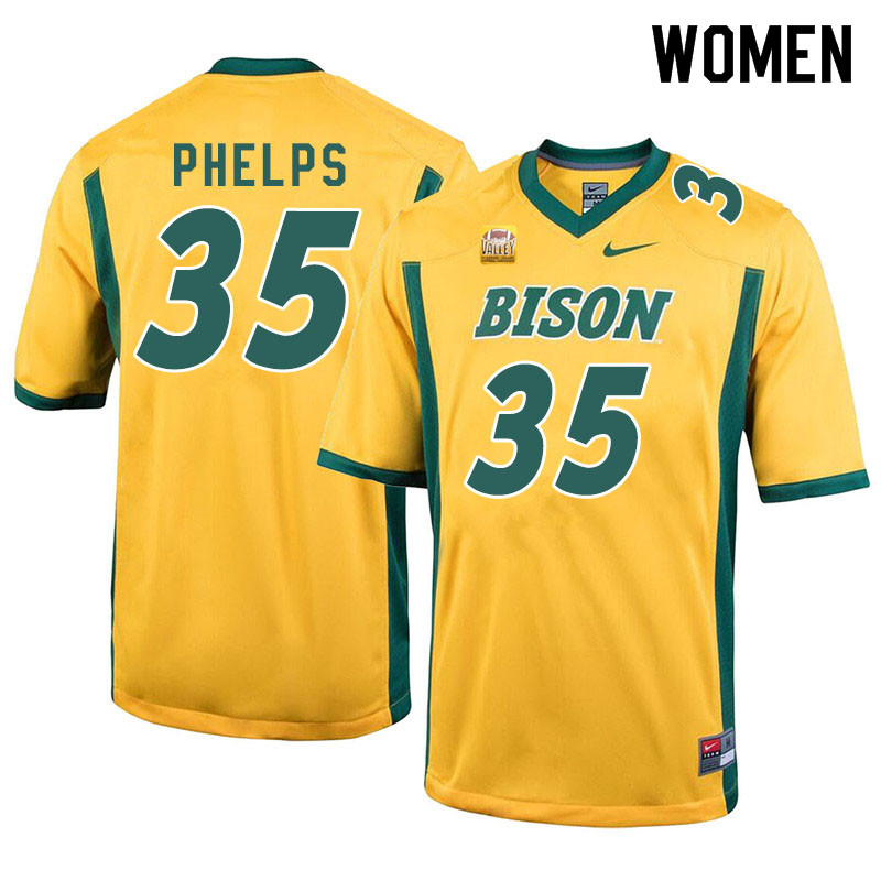 Women #35 Nick Phelps North Dakota State Bison College Football Jerseys Sale-Yellow
