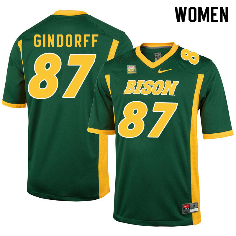Women #87 Noah Gindorff North Dakota State Bison College Football Jerseys Sale-Green