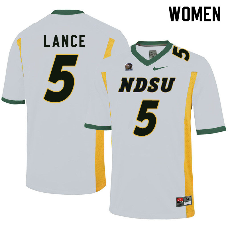 Women #5 Trey Lance North Dakota State Bison College Football Jerseys Sale-White