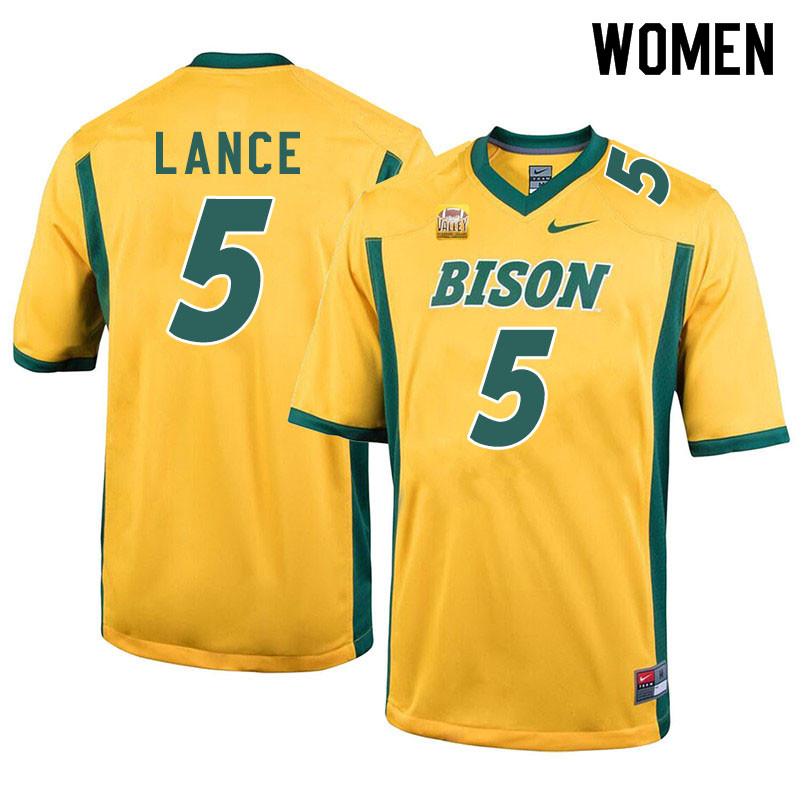 Women #5 Trey Lance North Dakota State Bison College Football Jerseys Sale-Yellow