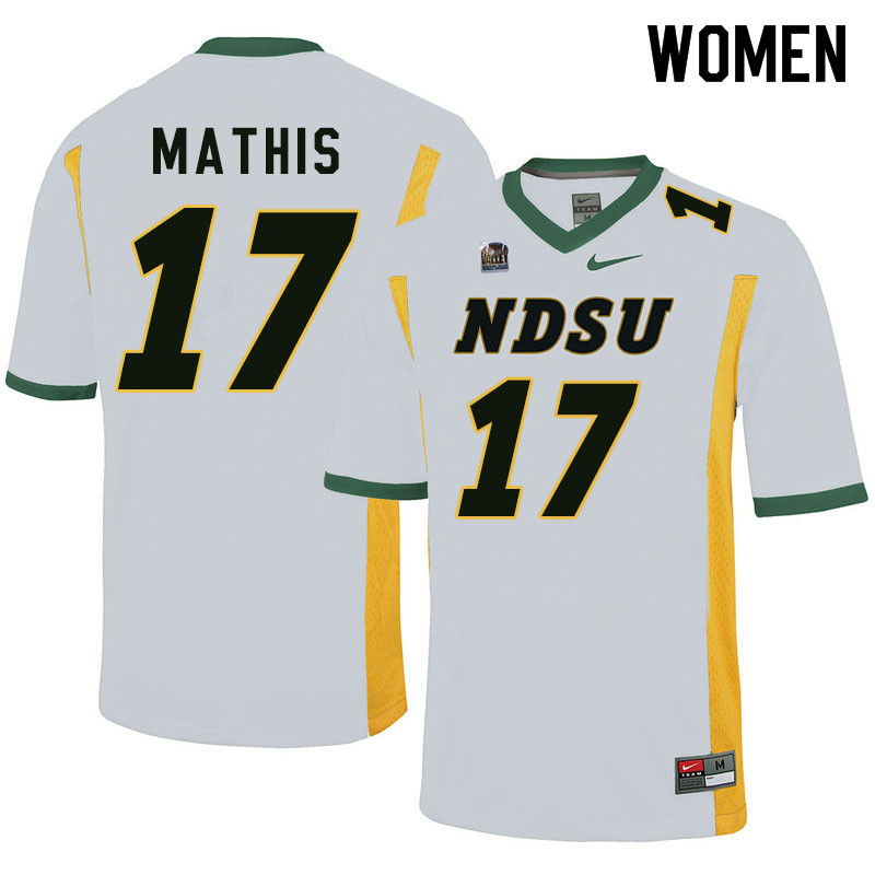Women #17 Zach Mathis North Dakota State Bison College Football Jerseys Sale-White