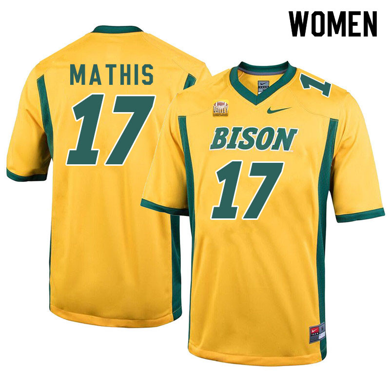 Women #17 Zach Mathis North Dakota State Bison College Football Jerseys Sale-Yellow