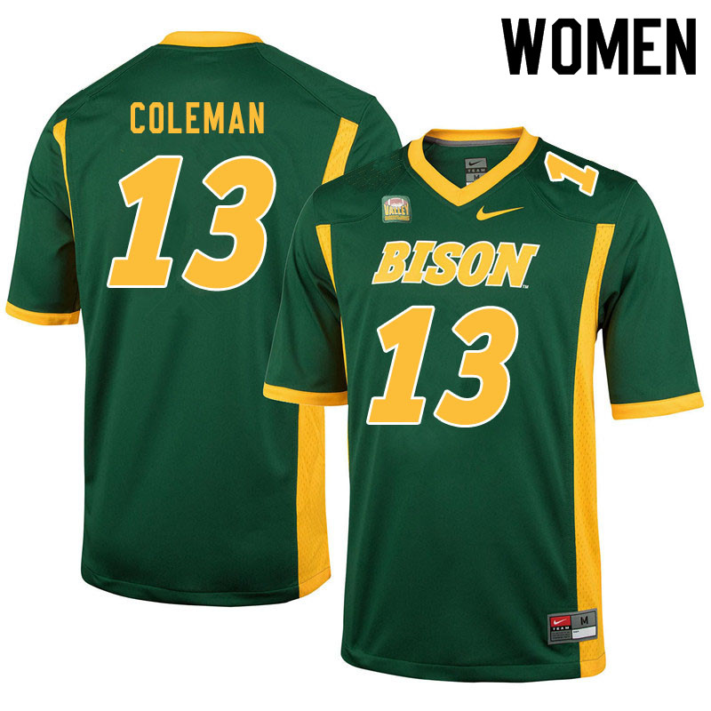 Women #13 Anthony Coleman North Dakota State Bison College Football Jerseys Sale-Green