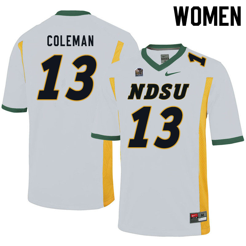 Women #13 Anthony Coleman North Dakota State Bison College Football Jerseys Sale-White