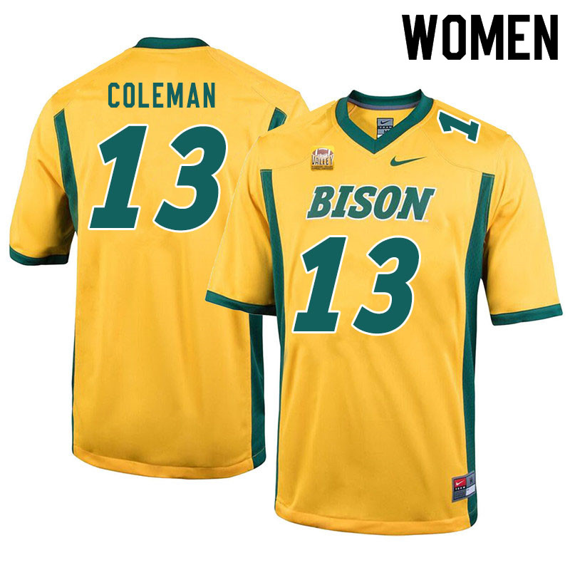 Women #13 Anthony Coleman North Dakota State Bison College Football Jerseys Sale-Yellow