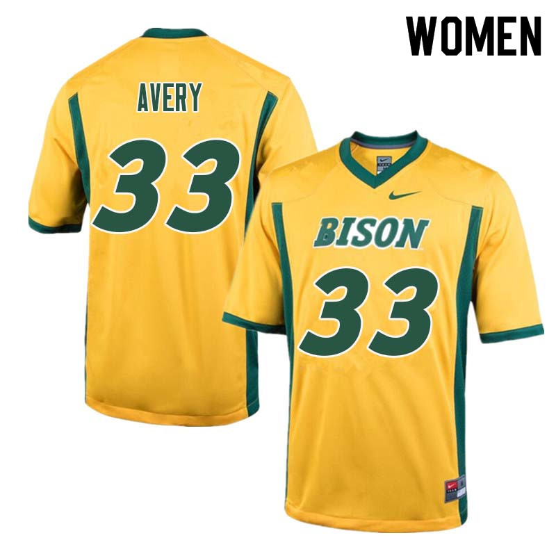 Women #33 Austin Avery North Dakota State Bison College Football Jerseys Sale-Yellow