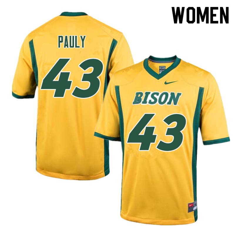 Women #43 Beau Pauly North Dakota State Bison College Football Jerseys Sale-Yellow