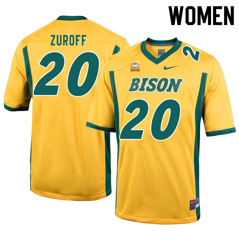 Women #20 Braden Zuroff North Dakota State Bison College Football Jerseys Sale-Yellow