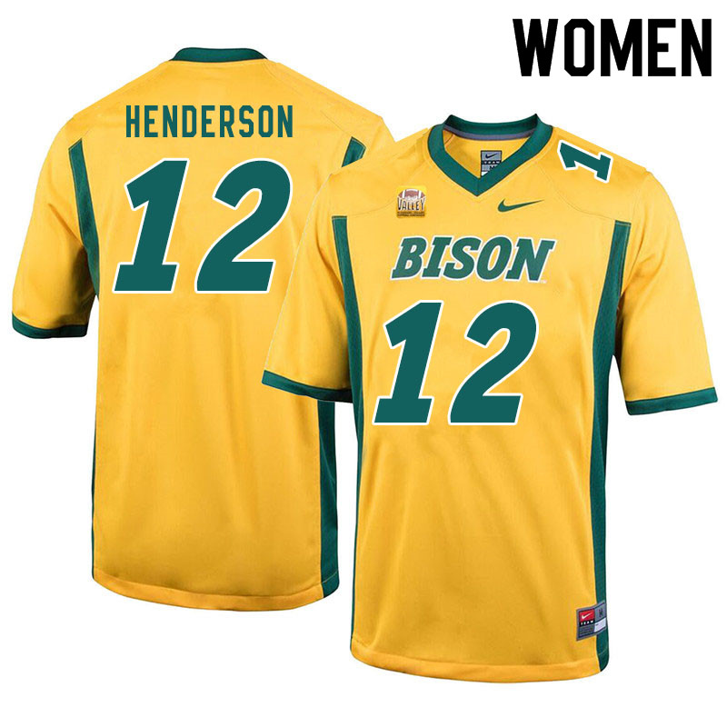 Women #12 Braylon Henderson North Dakota State Bison College Football Jerseys Sale-Yellow