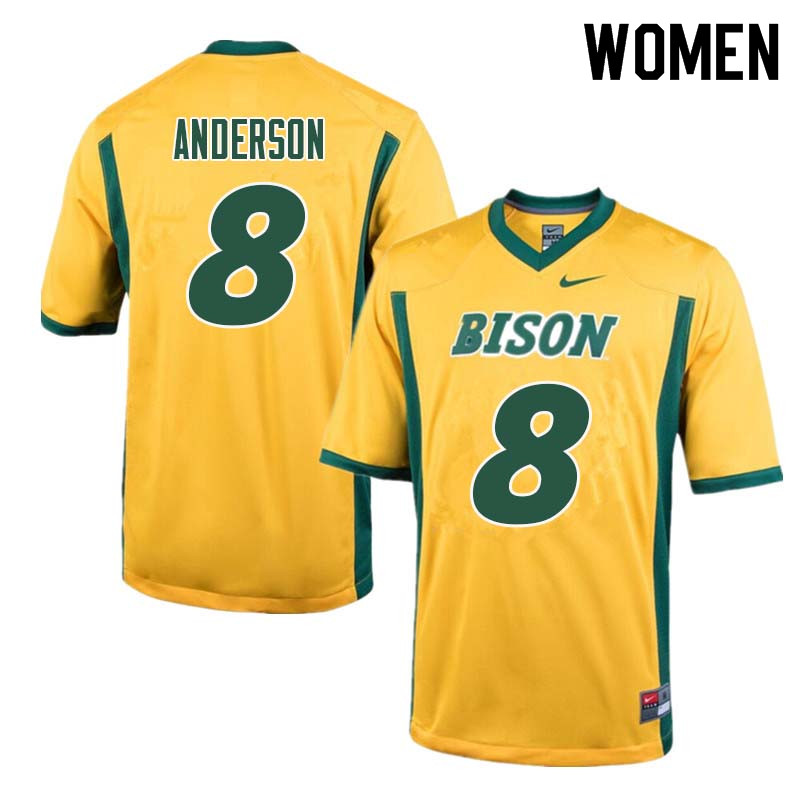 Women #8 Bruce Anderson North Dakota State Bison College Football Jerseys Sale-Yellow