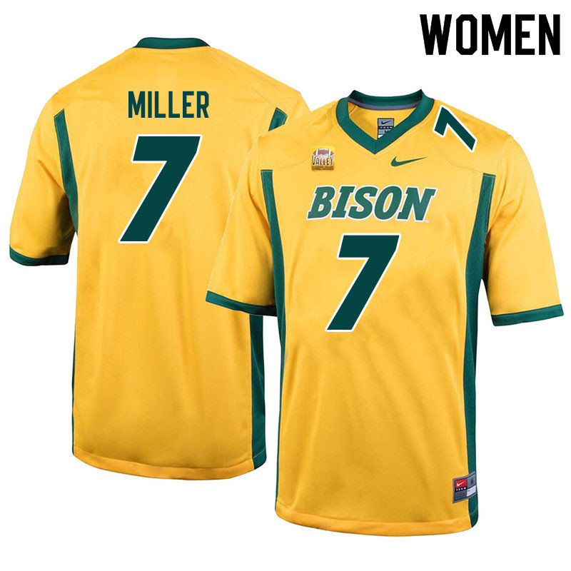 Women #7 Cam Miller North Dakota State Bison College Football Jerseys Sale-Yellow