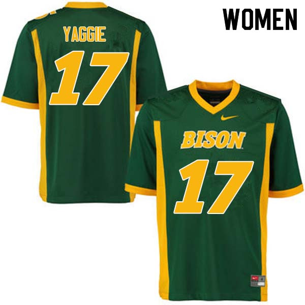 Women #17 Carson Yaggie North Dakota State Bison College Football Jerseys Sale-Green