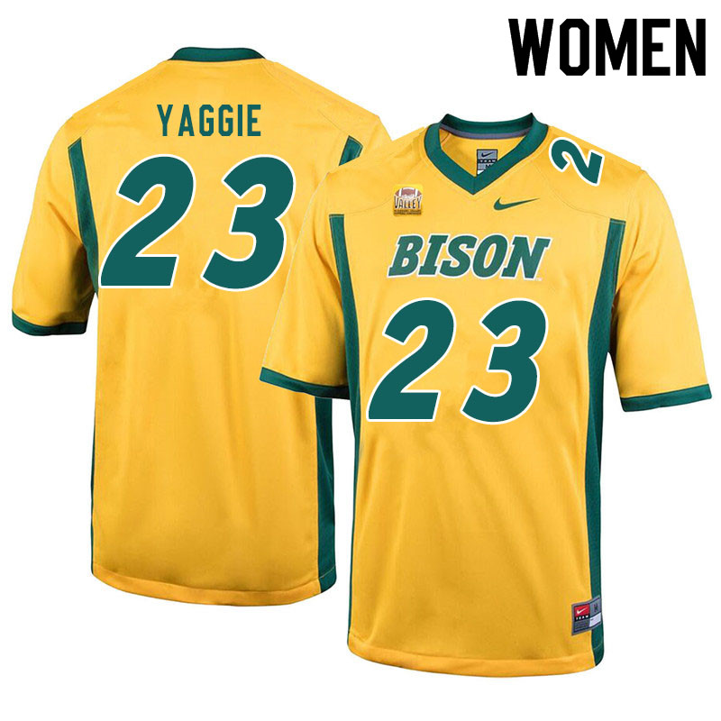 Women #23 Carson Yaggie North Dakota State Bison College Football Jerseys Sale-Yellow