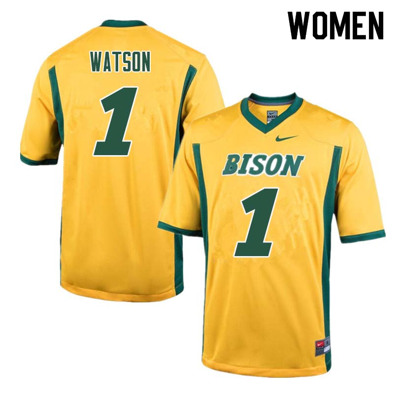 Women #1 Christian Watson North Dakota State Bison College Football Jerseys Sale-Yellow