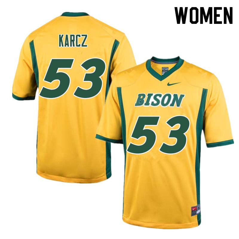 Women #53 Cole Karcz North Dakota State Bison College Football Jerseys Sale-Yellow