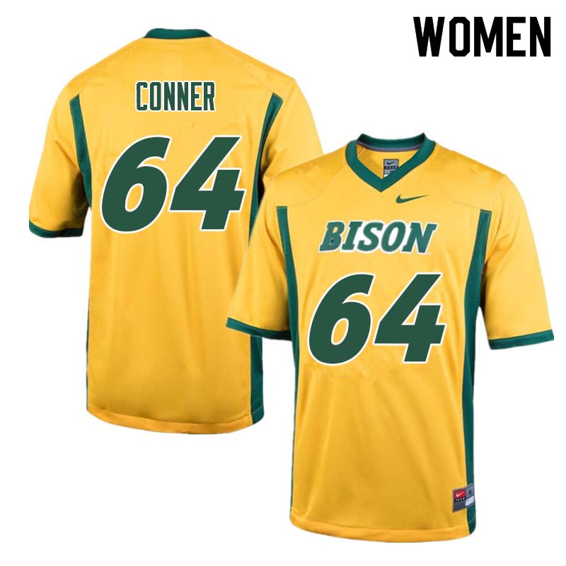 Women #64 Colin Conner North Dakota State Bison College Football Jerseys Sale-Yellow