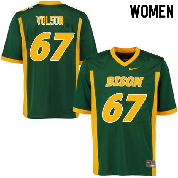 Women #67 Cordell Volson North Dakota State Bison College Football Jerseys Sale-Green