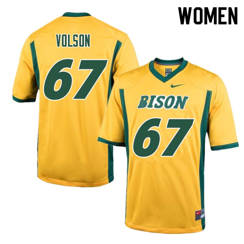 Women #67 Cordell Volson North Dakota State Bison College Football Jerseys Sale-Yellow