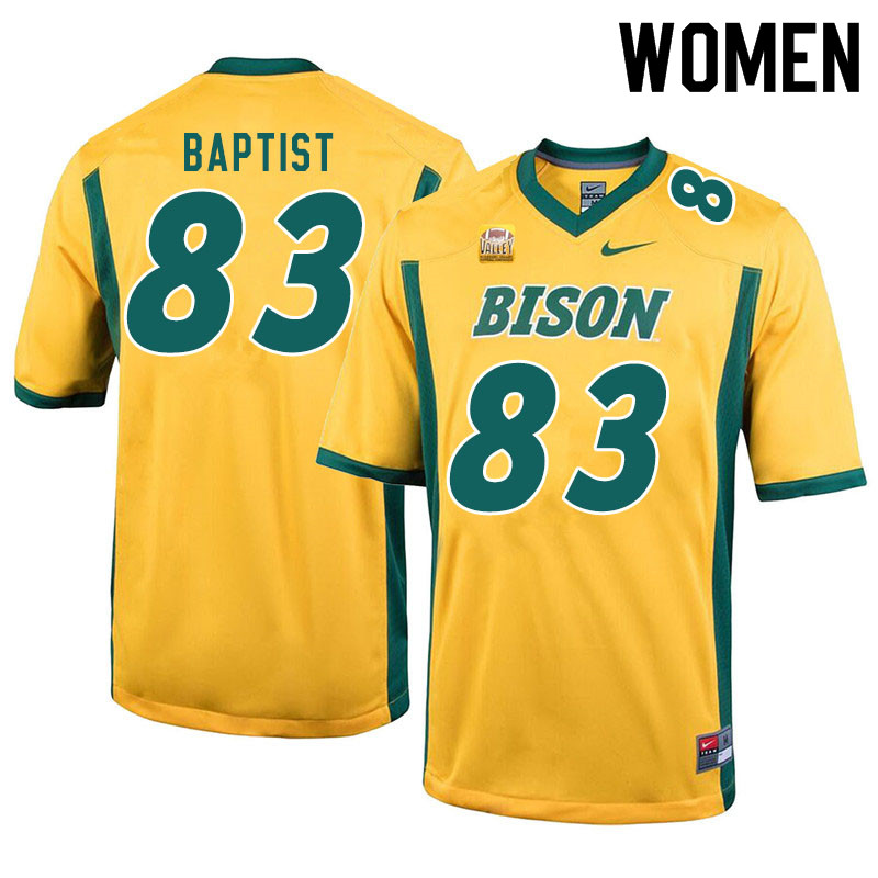 Women #83 DJ Baptist North Dakota State Bison College Football Jerseys Sale-Yellow