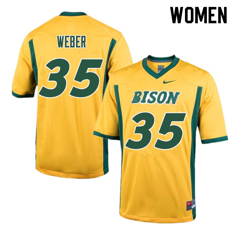 Women #35 Dawson Weber North Dakota State Bison College Football Jerseys Sale-Yellow