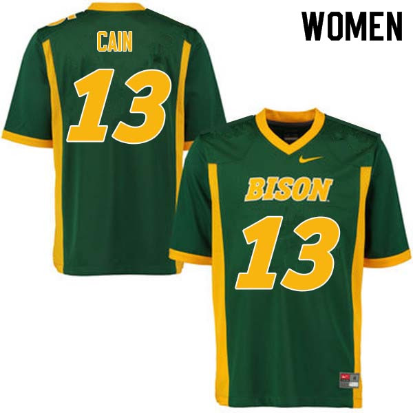 Women #13 Desmond Cain North Dakota State Bison College Football Jerseys Sale-Green