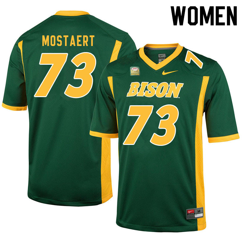 Women #73 Eli Mostaert North Dakota State Bison College Football Jerseys Sale-Green