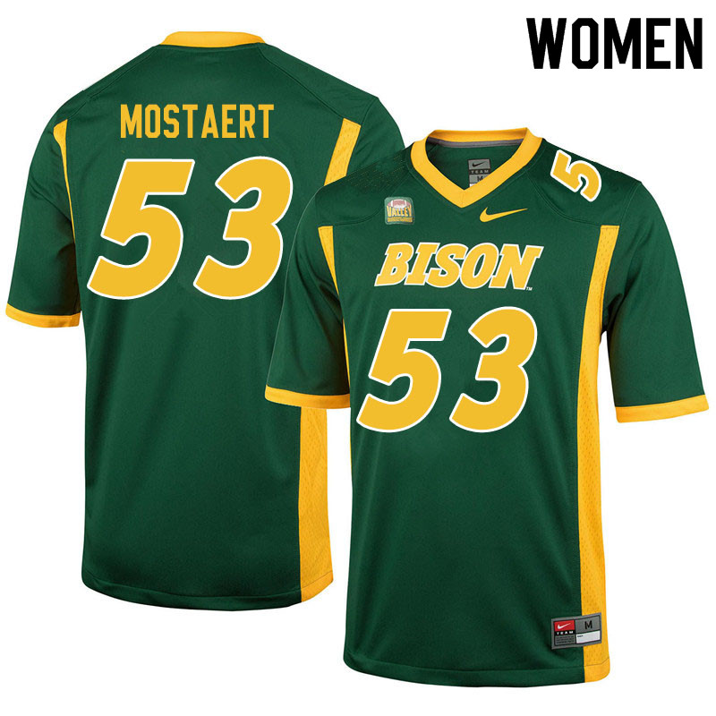 Women #53 Eli Mostaert North Dakota State Bison College Football Jerseys Sale-Green