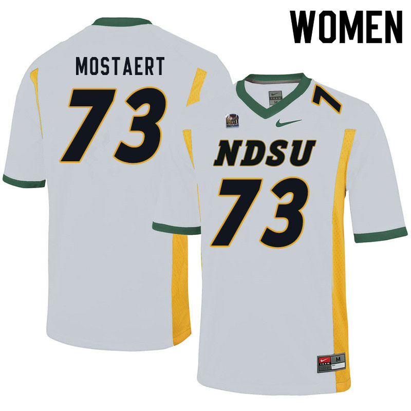 Women #73 Eli Mostaert North Dakota State Bison College Football Jerseys Sale-White