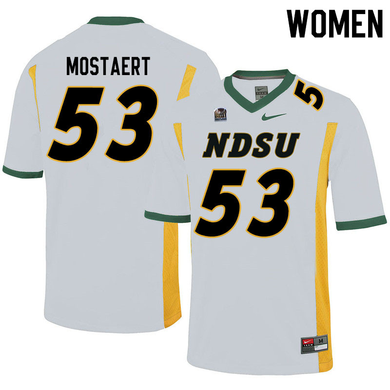 Women #53 Eli Mostaert North Dakota State Bison College Football Jerseys Sale-White