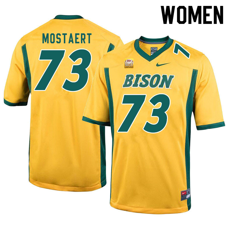 Women #73 Eli Mostaert North Dakota State Bison College Football Jerseys Sale-Yellow