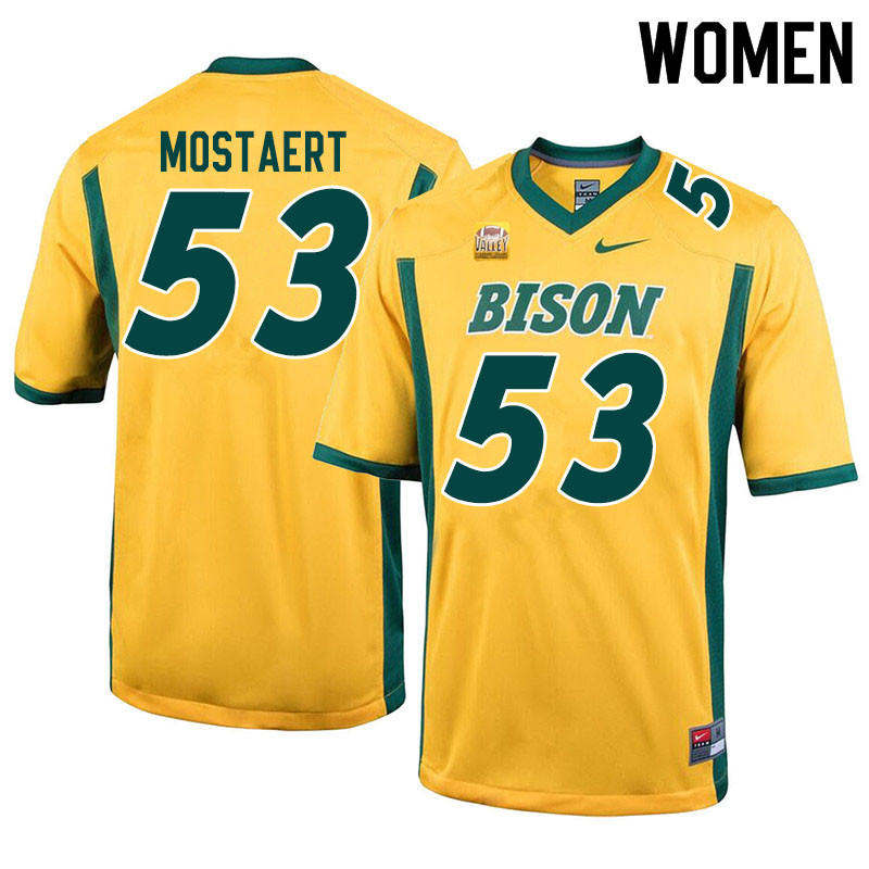 Women #53 Eli Mostaert North Dakota State Bison College Football Jerseys Sale-Yellow
