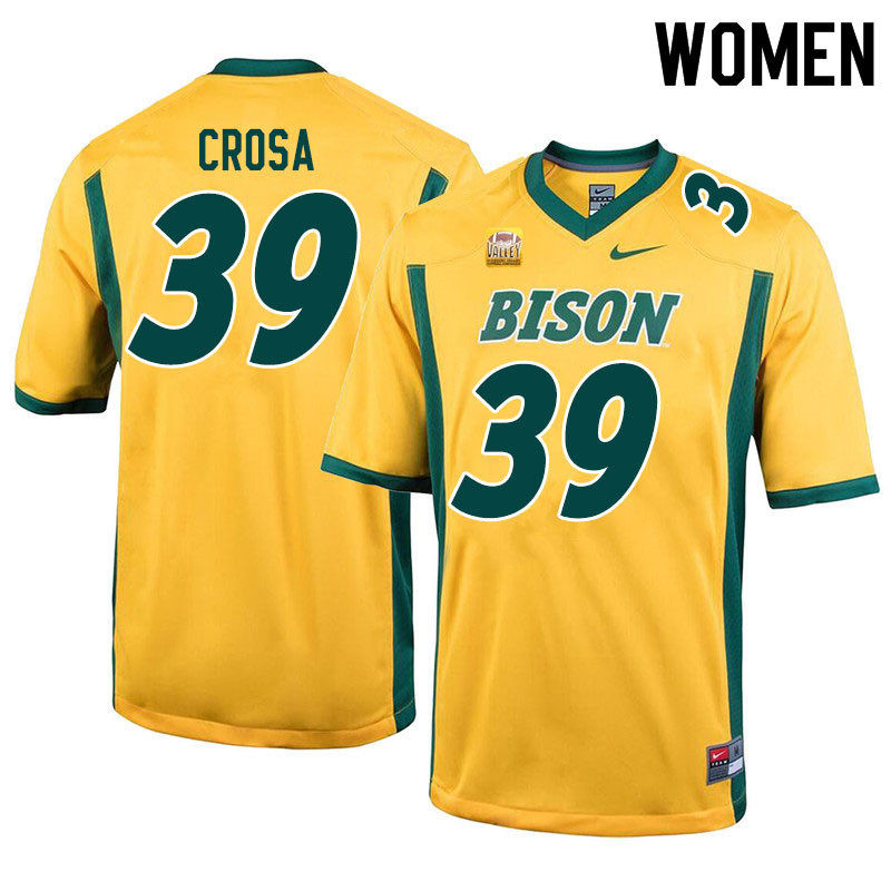 Women #39 Griffin Crosa North Dakota State Bison College Football Jerseys Sale-Yellow