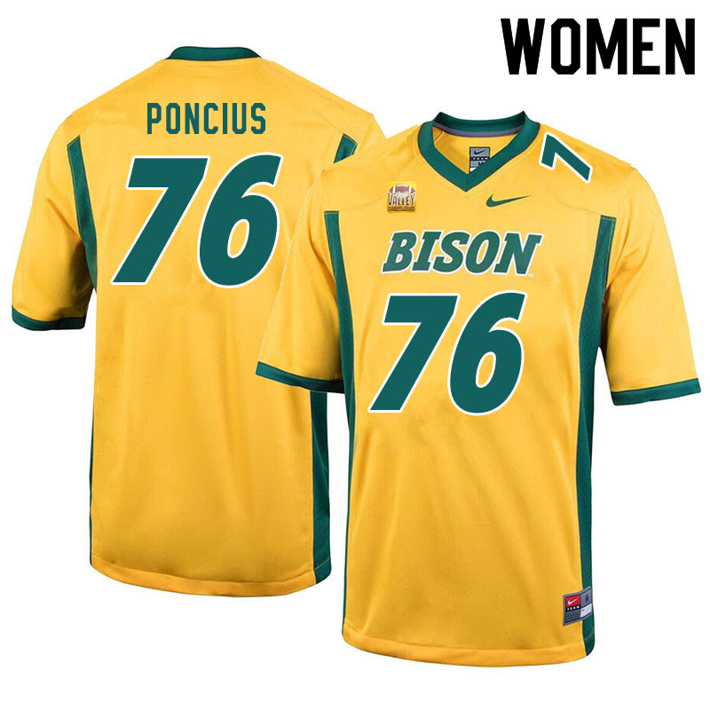 Women #76 Hunter Poncius North Dakota State Bison College Football Jerseys Sale-Yellow